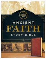 CSB Ancient Faith Study Bible--soft leather-look, tan (indexed)