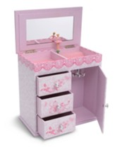 Graceful Ballerina Jewelry Box, 3 Drawers