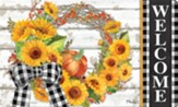 Welcome, Sunflower Wreath, Door Mat
