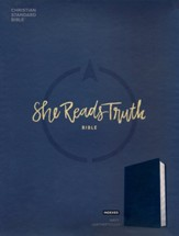 CSB She Reads Truth Bible, Navy LeatherTouch, Thumb-Indexed  (Value Edition)