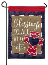 Blessings to All Who Enter Burlap Flag, Small