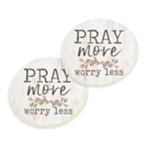 Pray More Worry Less Coasters, Set of 2
