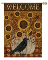 Welcome, Pumpkin and Sunflowers, Flag, Large