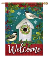 Welcome, Chickadee Birdhouse, Flag, Large