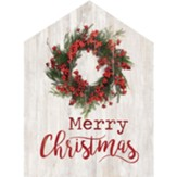 Merry Christmas, Wreath, House Shaped Art