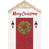 Merry Christmas, Red Door, House Shaped Art