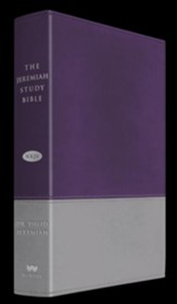 NKJV The Jeremiah Study Bible, LeatherLuxe ™ Gray/Purple - Slightly Imperfect