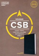CSB Giant-Print Center-Column Reference Bible--soft leather-look, black