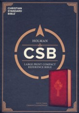 CSB Large-Print Compact Reference Bible--soft leather-look, burgundy with Celtic cross