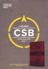 CSB Personal-Size Bible--soft leather-look, saddle brown with magnetic flap