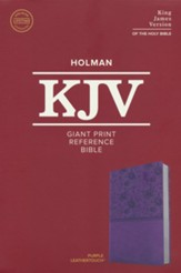 KJV Giant-Print Reference Bible--soft leather-look, purple