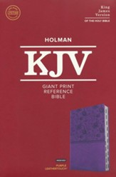 KJV Giant-Print Reference Bible--soft leather-look, purple (indexed) - Imperfectly Imprinted Bibles