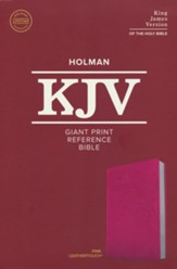 KJV Giant-Print Reference Bible--soft leather-look, pink - Imperfectly Imprinted Bibles