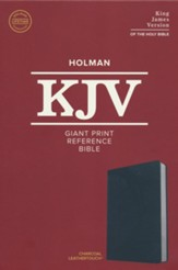 KJV Giant-Print Reference Bible--soft leather-look, charcoal