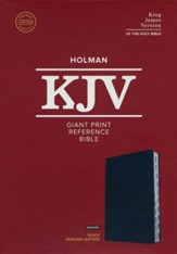 KJV Giant-Print Reference Bible--genuine leather, black (indexed)