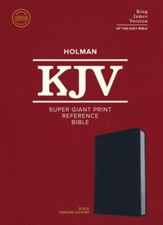 KJV Super Giant-Print Reference Bible--genuine leather, black