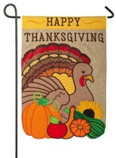 Happy Thanksgiving, Turkey and Gourds, Flag, Small