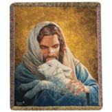 Jesus Holding A Lamb Throw