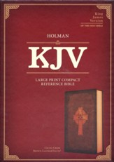 KJV Large-Print Compact Reference Bible--soft leather-look, brown with Celtic cross