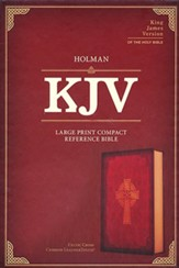 KJV Large-Print Compact Reference Bible--soft leather-look, burgundy with Celtic cross