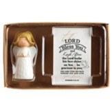 Praying Angel Figurine with The Lord Bless You Itty Bitty Blessings Card Gift Boxed Set