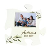 Personalized, Mini Puzzle Frame, Botanical, Family Name White