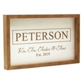 Personalized, Faux Wood Framed Sign, Family, White with Wood Frame