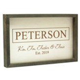 Personalized, Faux Wood Framed Sign, Family, White  with Gray Frame