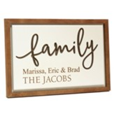 Personalized, Carved Framed Sign, Family, White