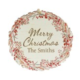 Personalized, Wreath Ornament, Merry Christmas, Red
