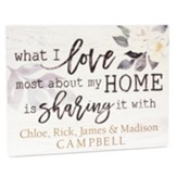 Personalized, Plaque, What I Love Most About My Home,  White