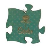 Personalized, Puzzle Piece Charm, with Name, Teal