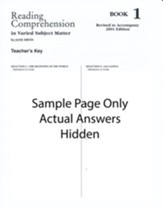 Reading Comprehension (in Varied Subject Matter) Book 1 Grade 3, Answer Key