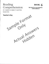 Reading Comprehension Book 6, Grade 8, Teacher's Key