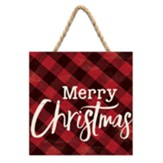 Merry Christmas Hanging Sign, Plaid