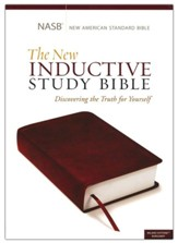 NASB New Inductive Study Bible--soft leather-look, burgundy