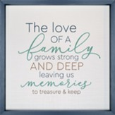 The Love of a Family Grows Strong. Framed Wall Art, 3D Texture