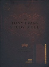 CSB Tony Evans Study Bible--soft leather-look, black/brown (indexed) - Imperfectly Imprinted Bibles