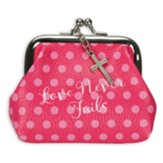 Love Never Fails, Coin Purse With Kiss Lock