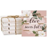 Love Never Fails Pallet Coasters, Set of 4