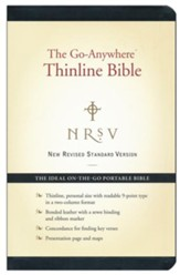 NRSV Go-Anywhere Personal Size Thinline Bible, Bonded Leather, Black - Imperfectly Imprinted Bibles