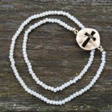 Cross Bracelet, Natural Beads