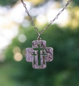 Cut Out Triple Cross Necklace-Gold