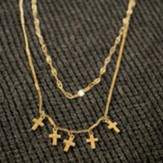 Layered Crosses Necklace, Gold