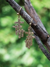 Triple Cross Earrings, Gold