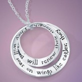 Soar On Wings Sterling Silver Double Mobius Pendant, Isaiah 40:31