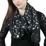In Memory Scarf, Butterflies, Black