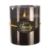 Faith Family Friends LED Realistic Flame Candle, Smoke
