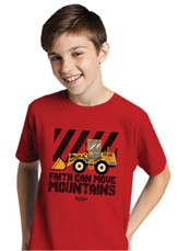 Faith Can Move Mountains Shirt, Red, Youth Large