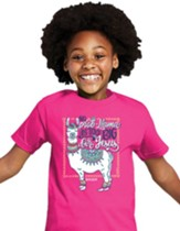 No Prob-Llama Is Too Big For Jesus Shirt, Pink, Youth Medium